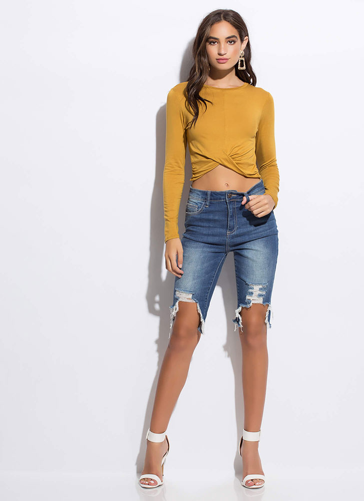 Twist To The Story High-Low Crop Top MUSTARD