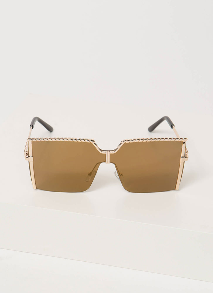 Here's A Twist Square Sunglasses BROWNGOLD