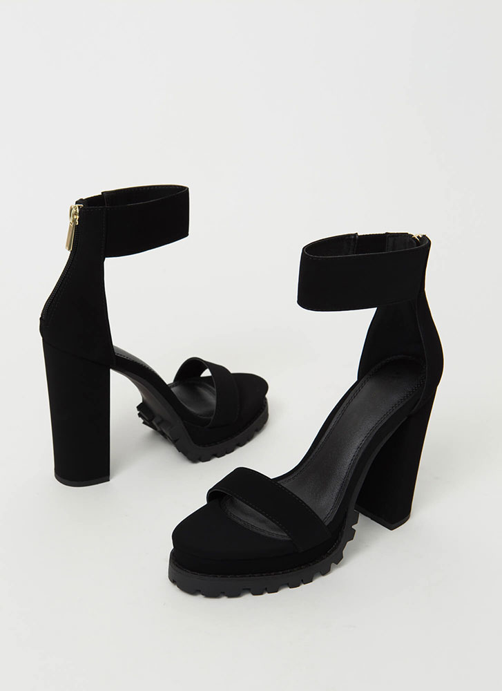 The Lug Of My Life Ankle Cuff Heels BLACK