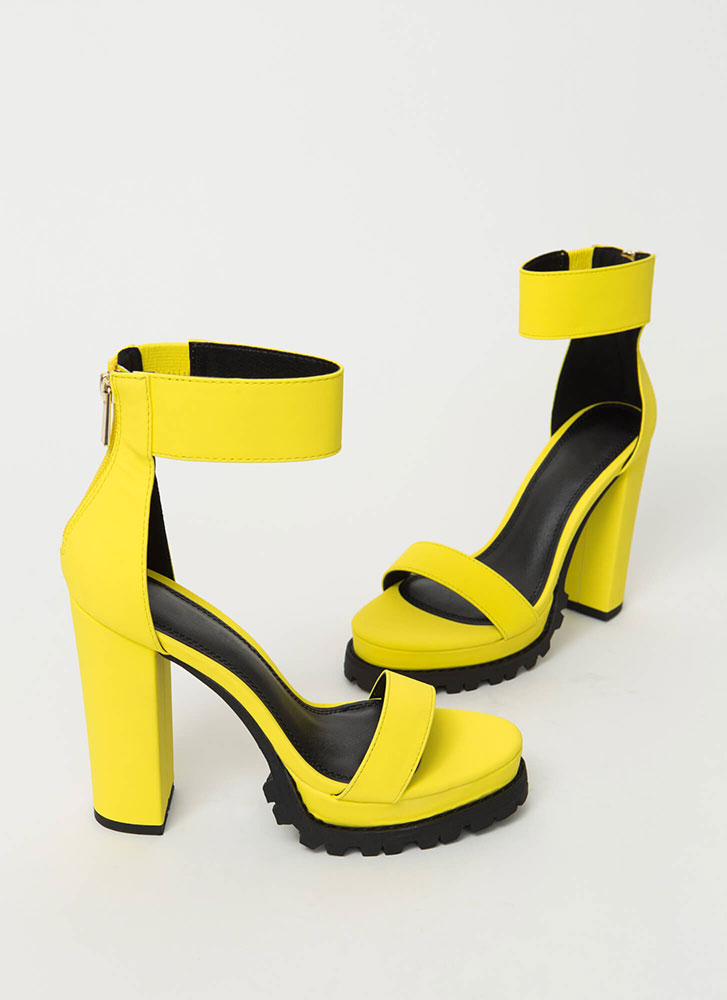 The Lug Of My Life Ankle Cuff Heels YELLOW