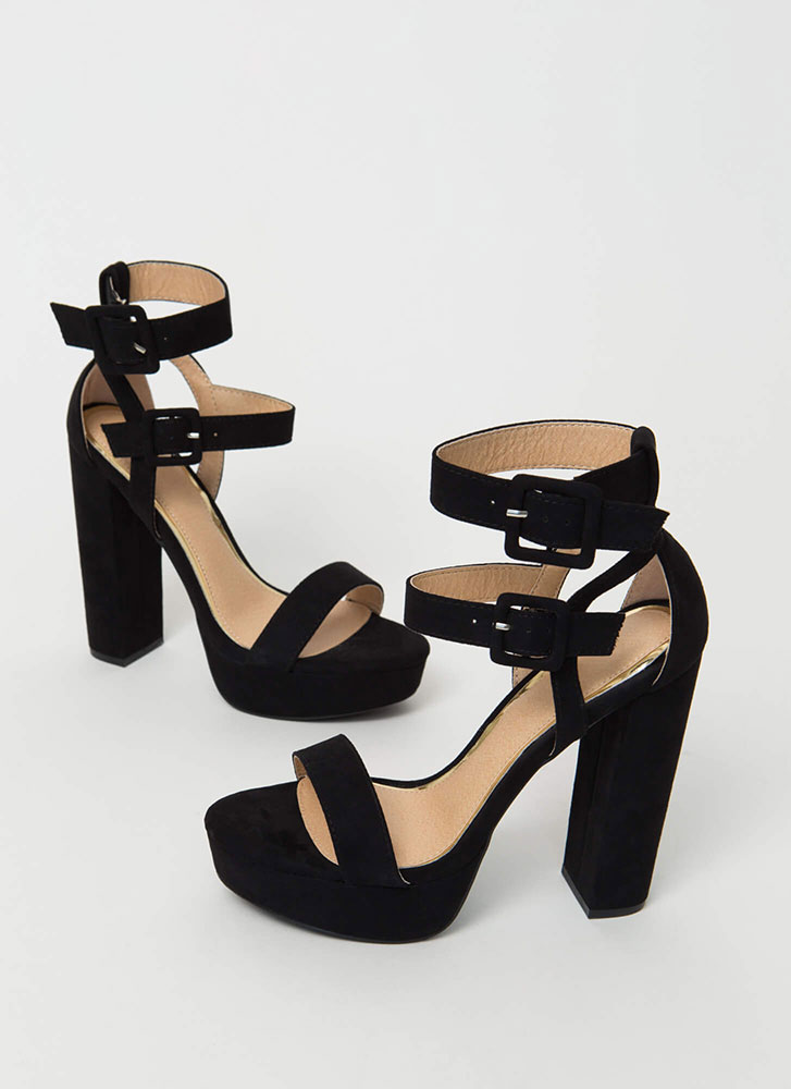 6a854bab7bb Two Strappy Chunky Platform Heels