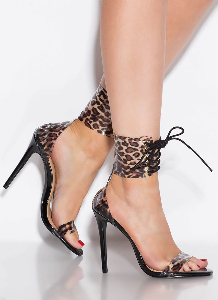 Leopard Look Lace-Up Ankle Cuff Heels BLACK