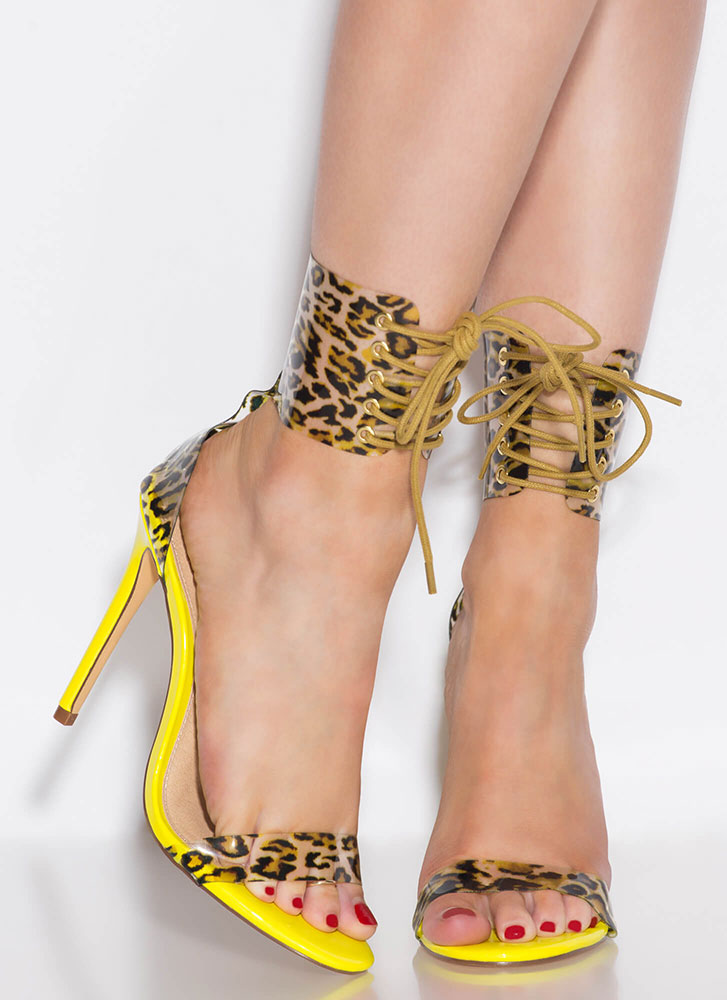 Leopard Look Lace-Up Ankle Cuff Heels YELLOW