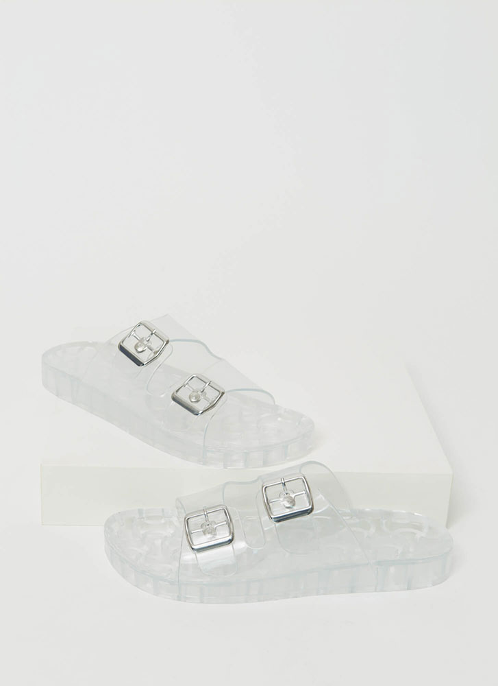 Play Time Buckled Jelly Slide Sandals CLEAR