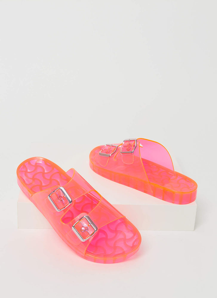 Play Time Buckled Jelly Slide Sandals PINK