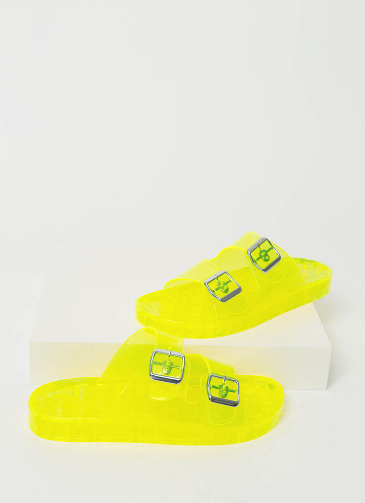Play Time Buckled Jelly Slide Sandals YELLOW
