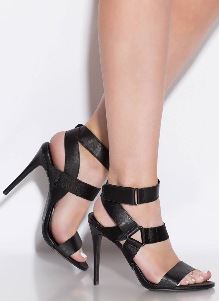 Big Band Strappy Cut-Out Caged Heels BLACK