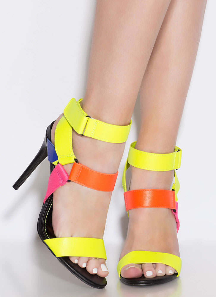 Big Band Strappy Multi-Colored Heels NEONYELLOW (Final Sale)