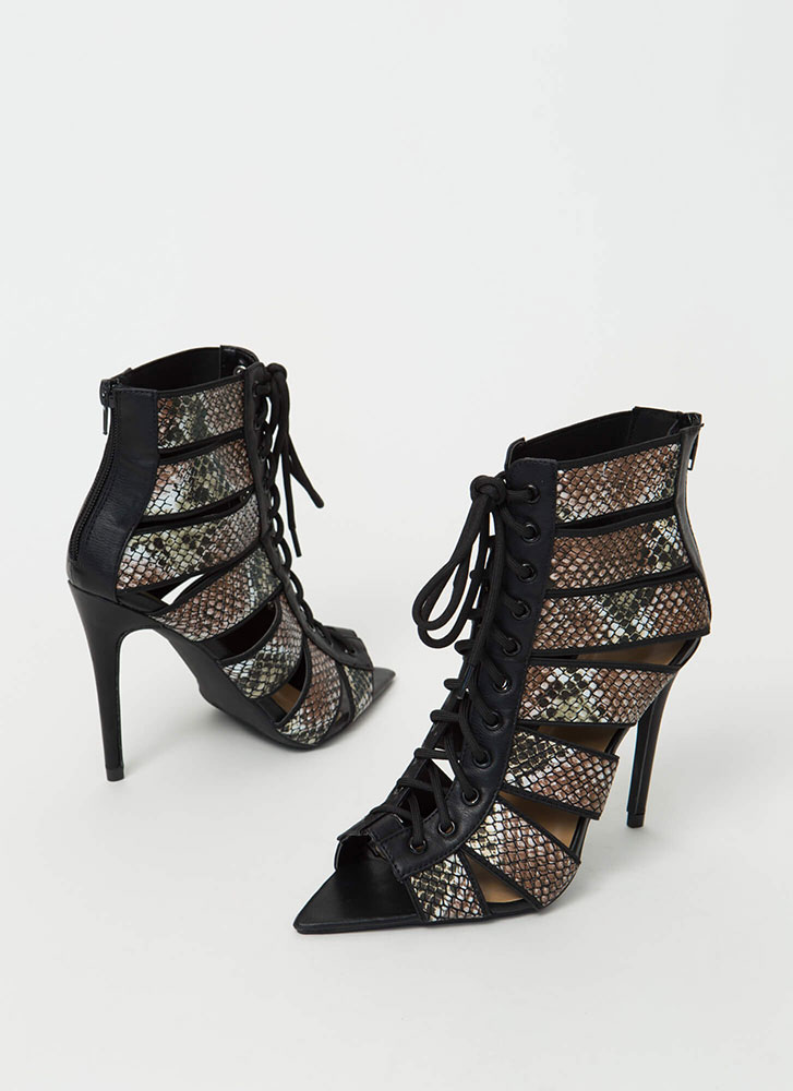 Rock Bands Lace-Up Bootie Heels SNAKE