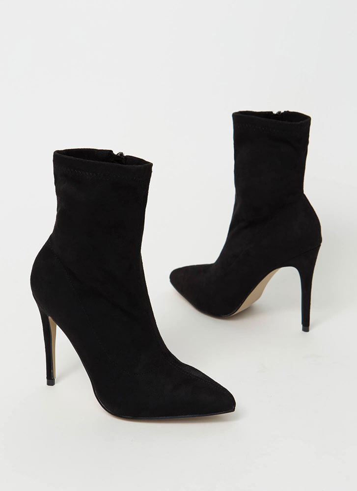 Yes Girl Yes Pointy Faux Suede Booties by Go Jane