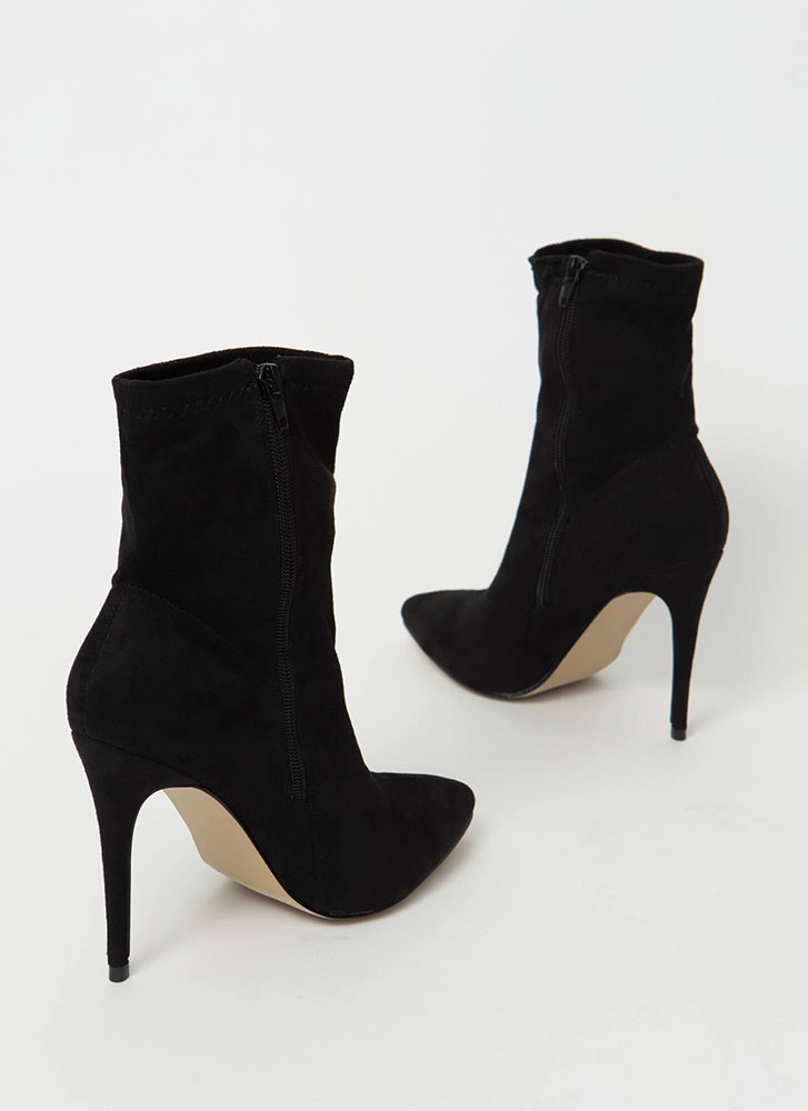Yes Girl Yes Pointy Faux Suede Booties BLACK