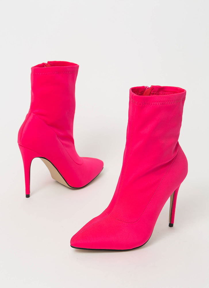 Yes Girl Yes Pointy Lycra Booties NEONPINK