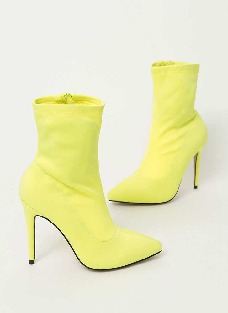 Yes Girl Yes Pointy Lycra Booties NEONYELLOW