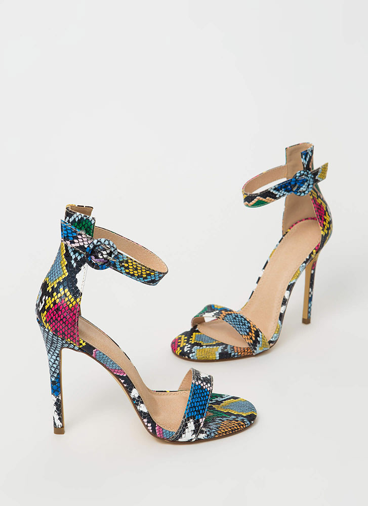 Chic Now Strappy Snake Print Heels SNAKE