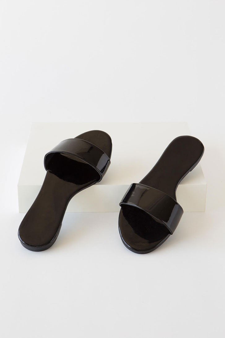 Born Ready Faux Patent Slide Sandals BLACK
