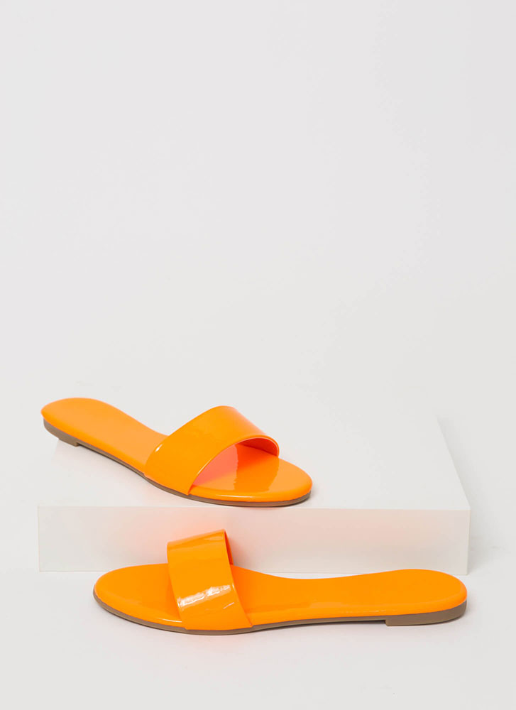 Born Ready Faux Patent Slide Sandals ORANGE