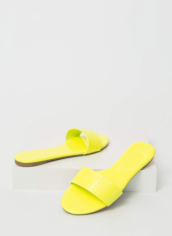 Born Ready Faux Patent Slide Sandals YELLOW