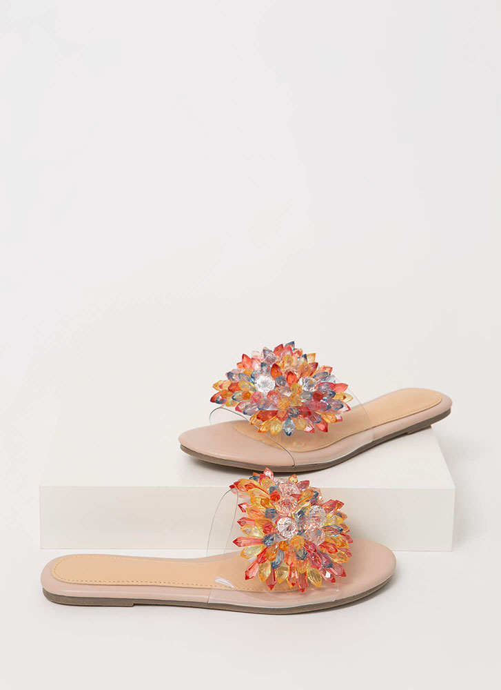 Crystal Clear Jeweled Slide Sandals NUDE