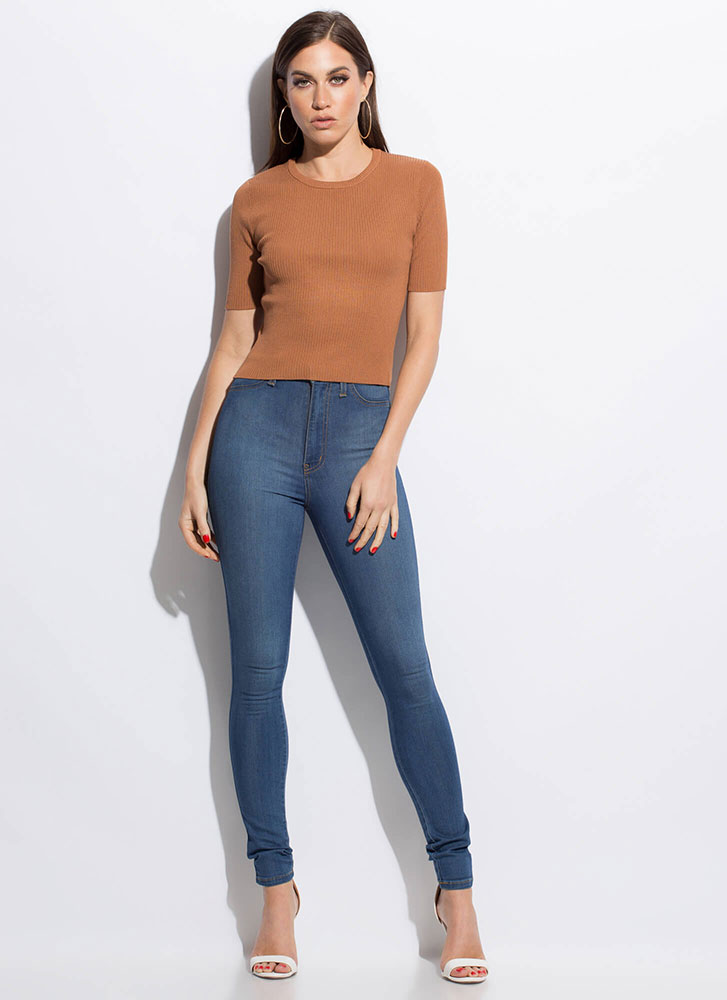 Basically Speaking Rib Knit Top CAMEL