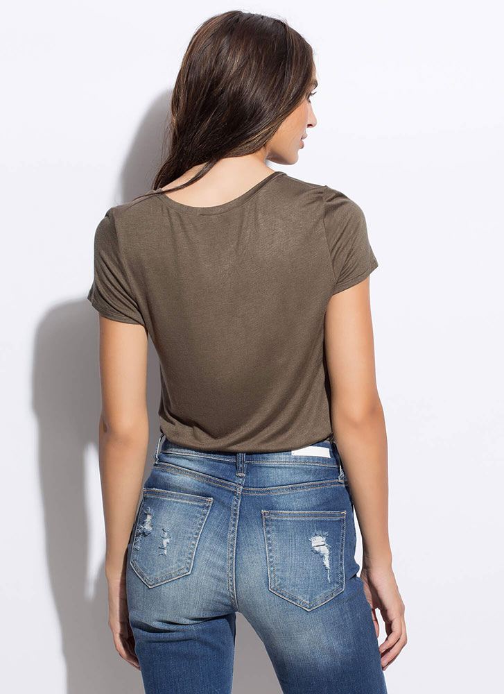 Keeping Things Casual Pocket Tee OLIVE