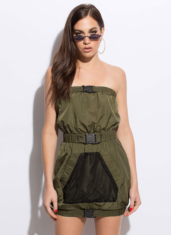 Buckle Up Strapless Netted Minidress OLIVE