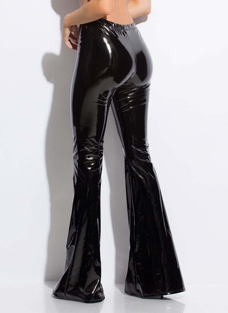 Glossy-Pants Faux Patent Bell-Bottoms BLACK (Final Sale)