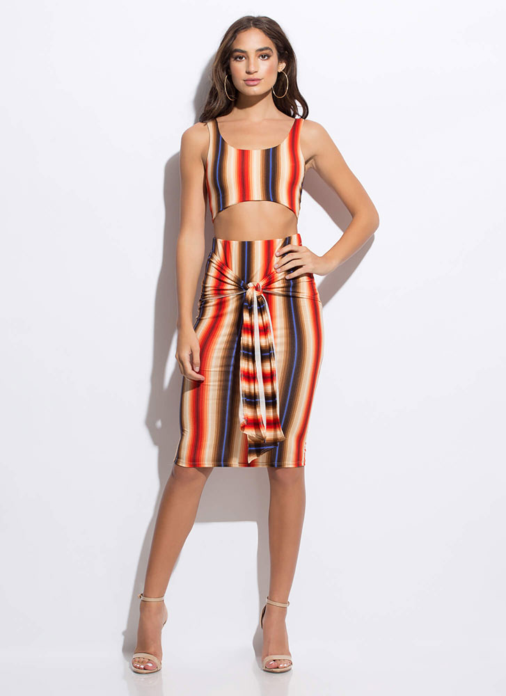 Tied Together Striped Top And Skirt Set ORANGEMULTI
