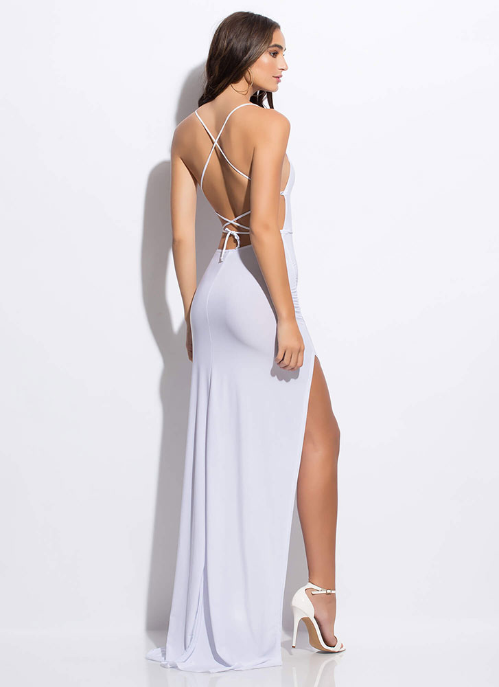 Stunning Revelation Slit Lace Back Gown by Go Jane