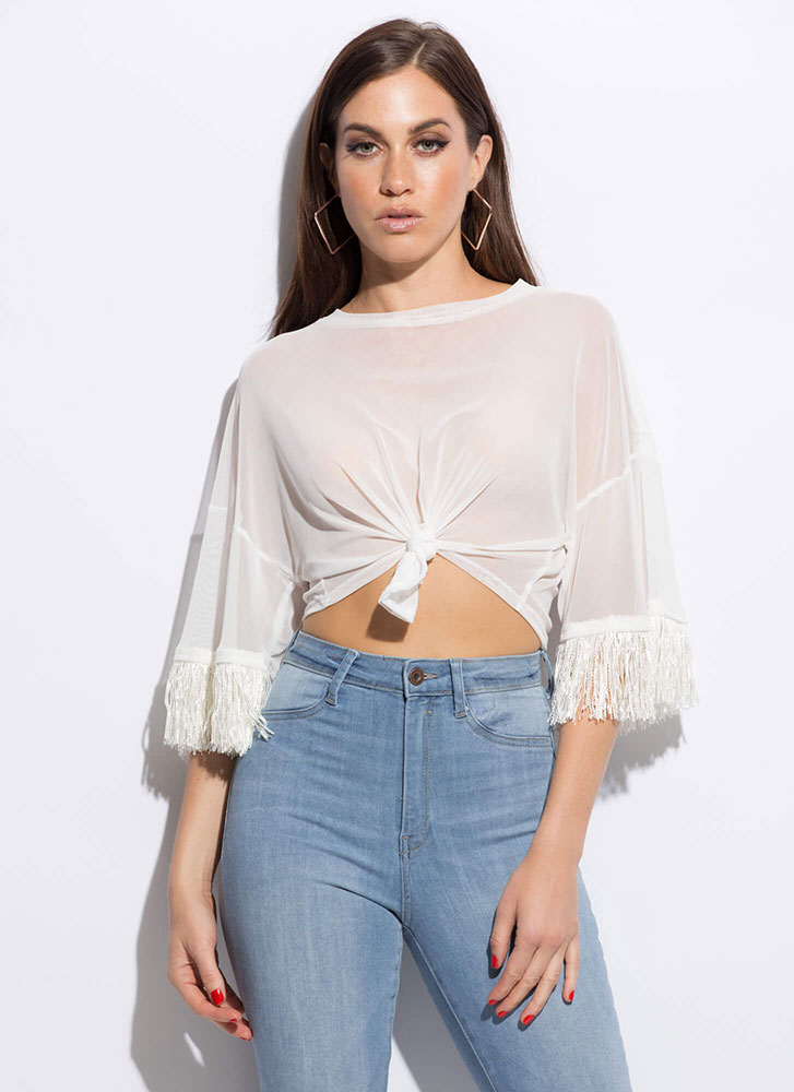 Fringe-Worthy Knotted Mesh Crop Top WHITE