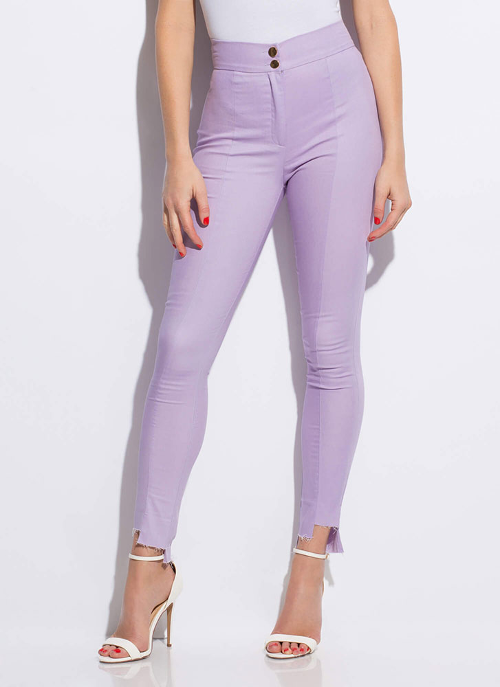Uneven The Score Raw-Cut Skinny Pants LILAC