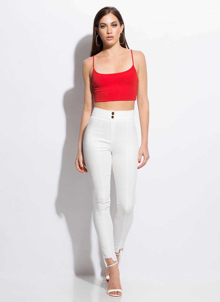 Uneven The Score Raw-Cut Skinny Pants WHITE