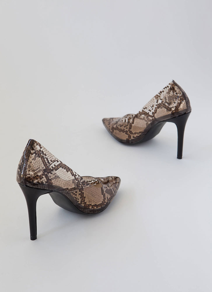 Clear And Pointy Danger Snake Pumps BROWN