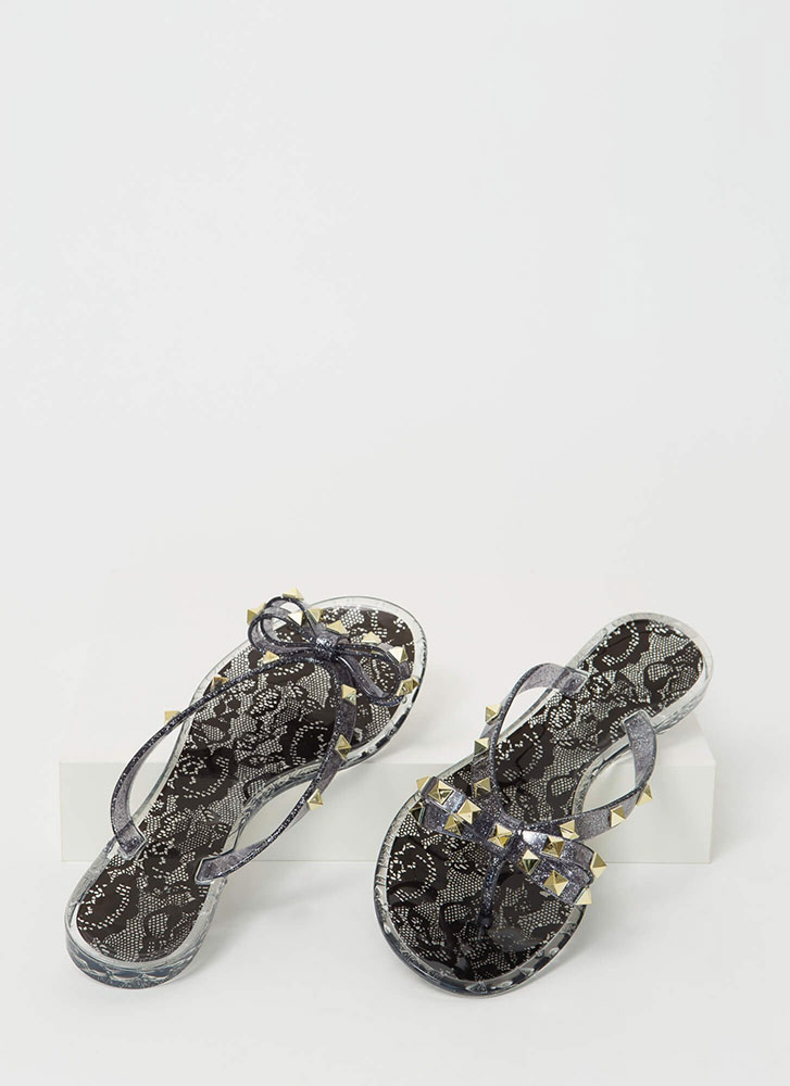 Bow-tiful Lace Studded Jelly Sandals BLACK