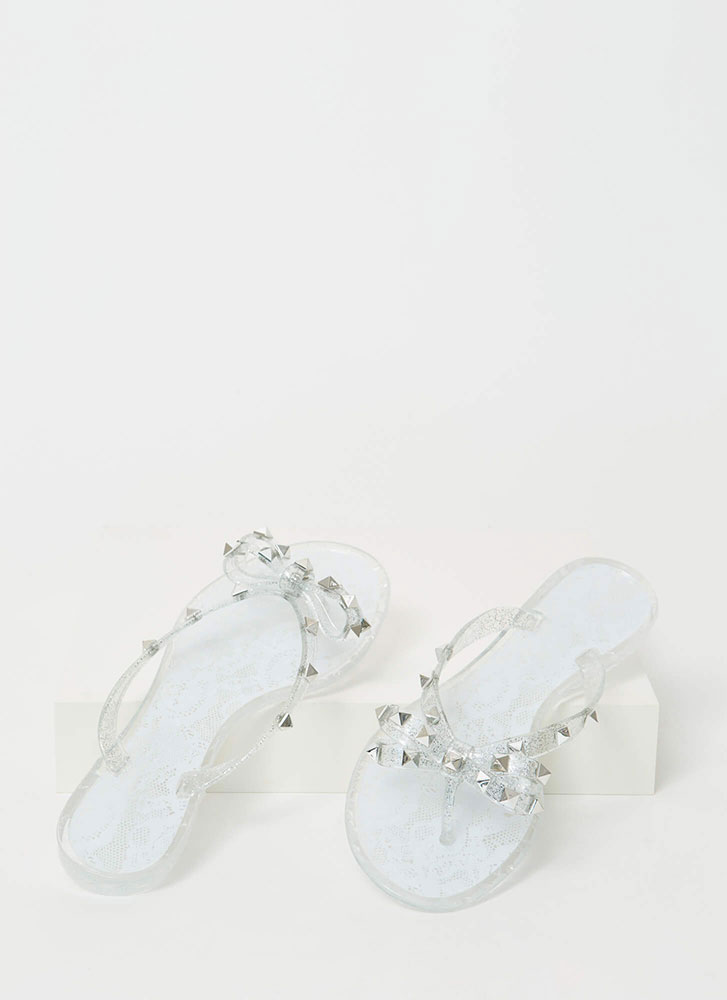 Bow-tiful Lace Studded Jelly Sandals CLEAR