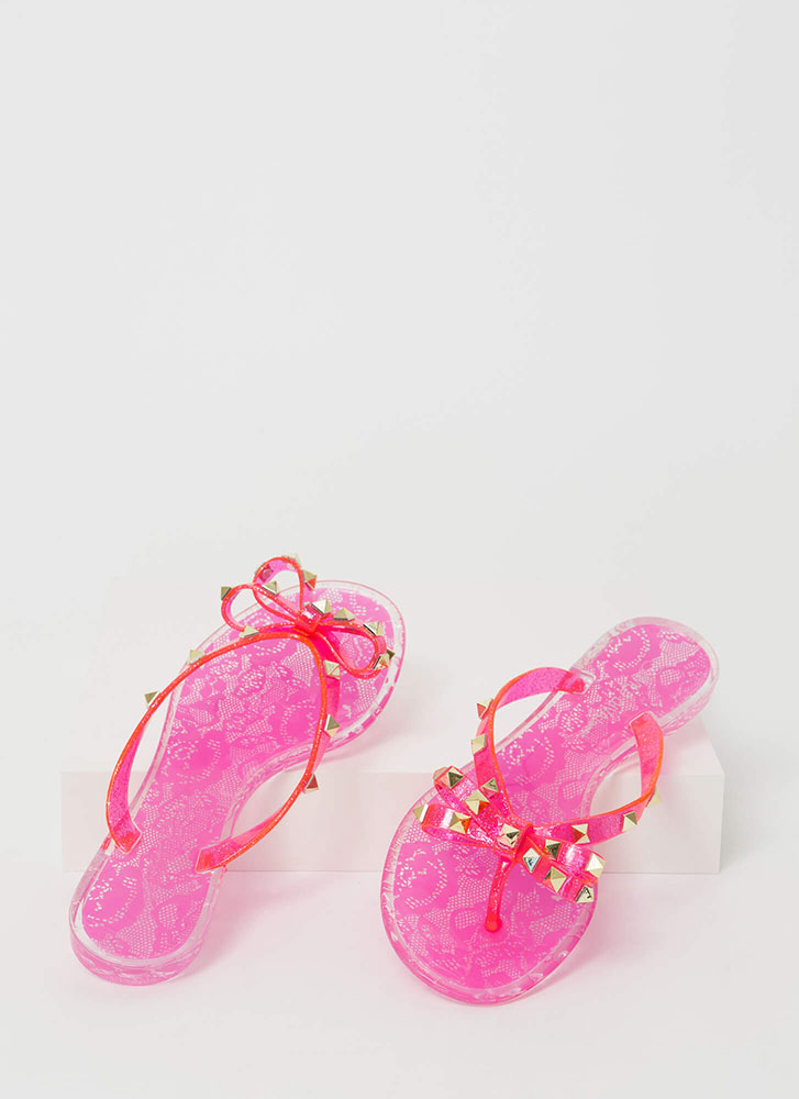 Bow-tiful Lace Studded Jelly Sandals NEONPINK