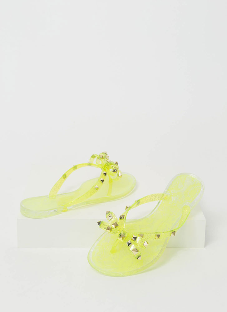 Bow-tiful Lace Studded Jelly Sandals NEONYELLOW