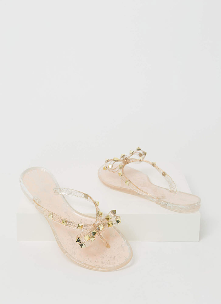 Bow-tiful Lace Studded Jelly Sandals NUDE