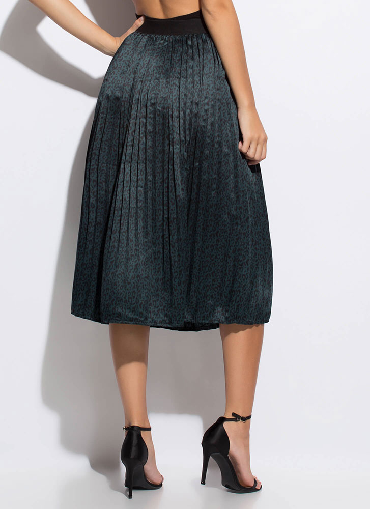 Lady In The Wild Pleated Leopard Skirt DKGREENBLK
