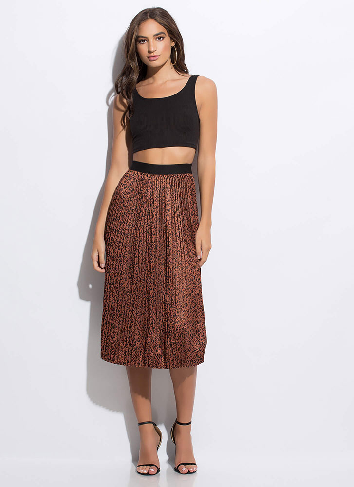 Lady In The Wild Pleated Leopard Skirt RUSTBLACK