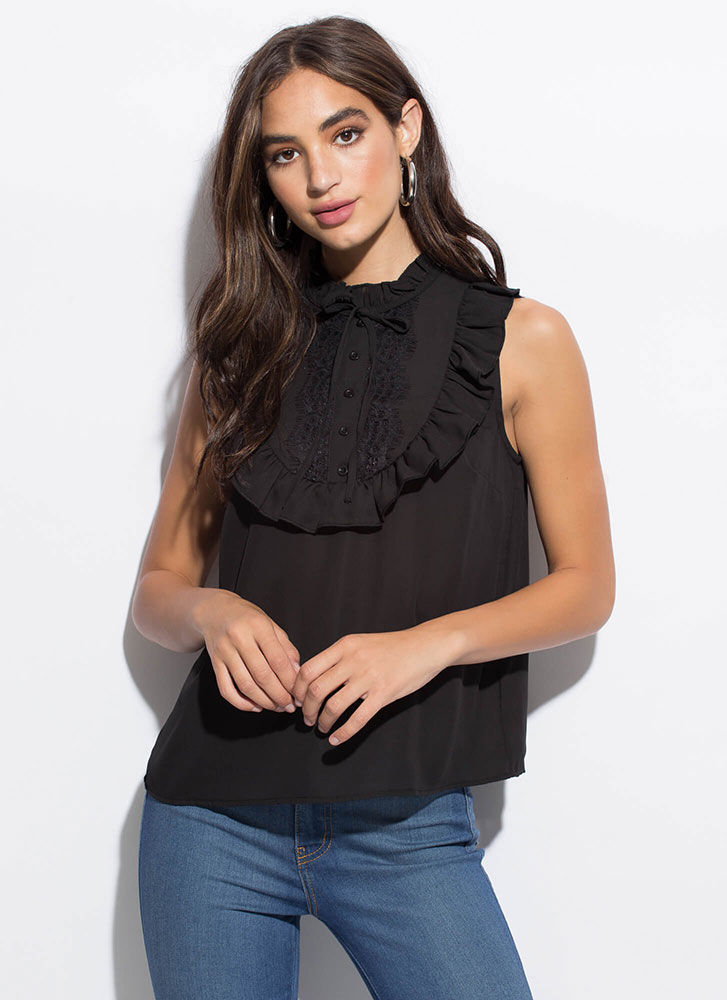 Vintage Vibes Ruffled Lace Accent Top BLACK