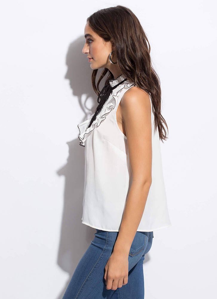Vintage Vibes Ruffled Lace Accent Top WHITE