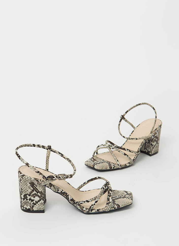 Forever Strappy Chunky Faux Snake Heels BEIGE