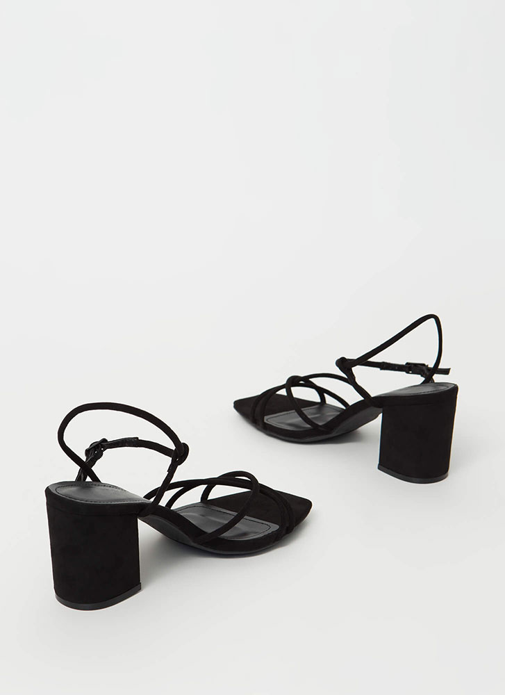 Forever Strappy Chunky Faux Suede Heels BLACK