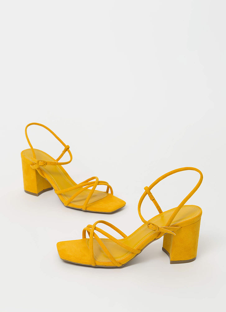 Forever Strappy Chunky Faux Suede Heels MARIGOLD