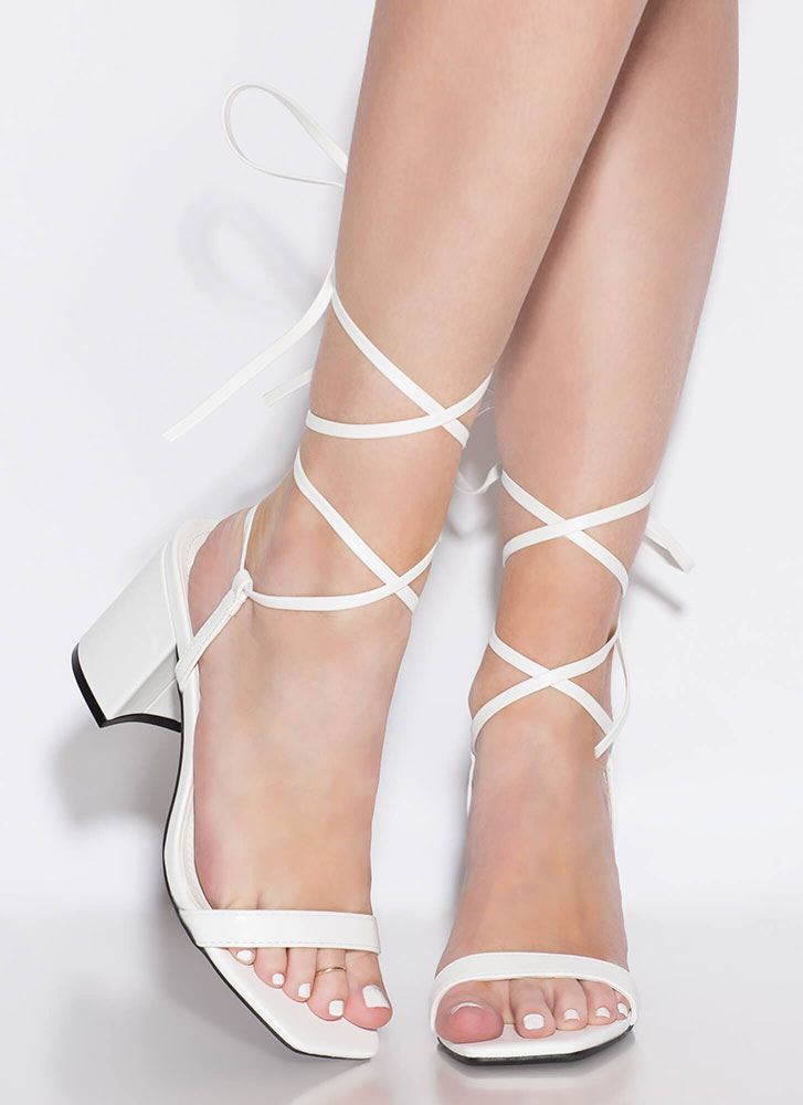 Living In My Lace-Up Block Heels WHITE