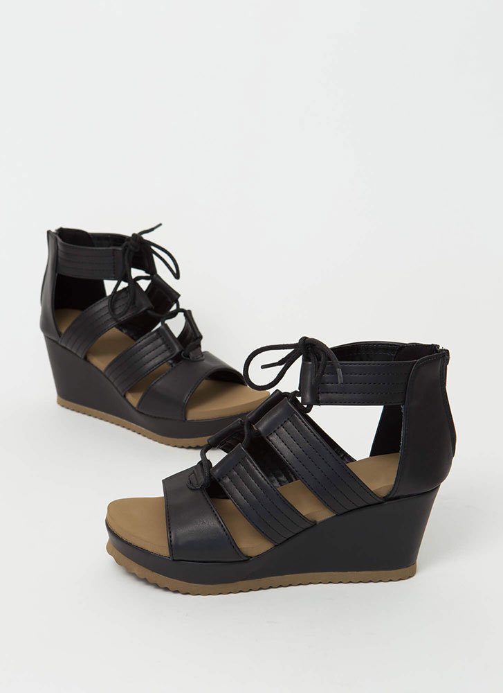 Duty Calls Strappy Lace-Up Wedges BLACK