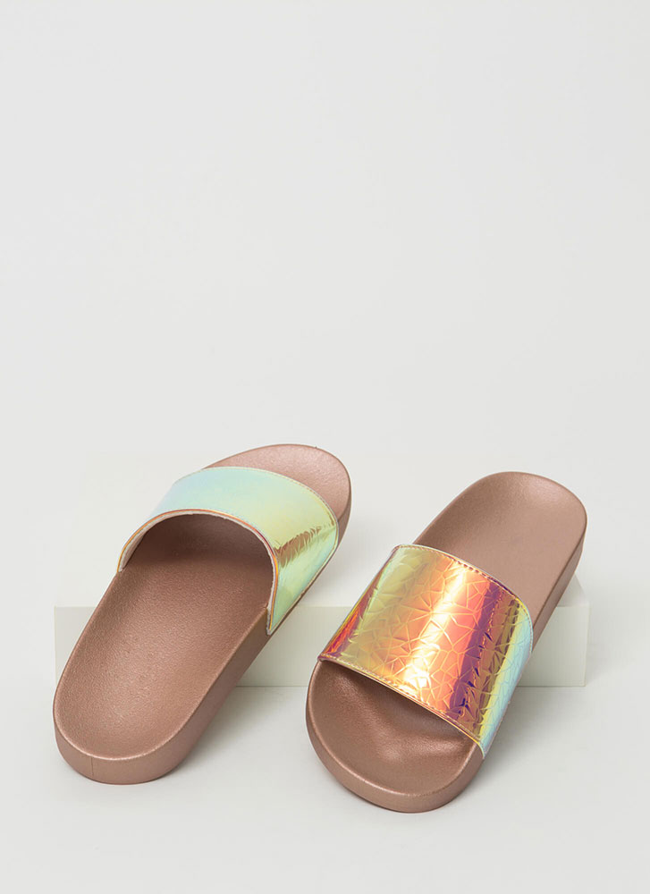Crackle Pop Holographic Slide Sandals IRIDESCENT
