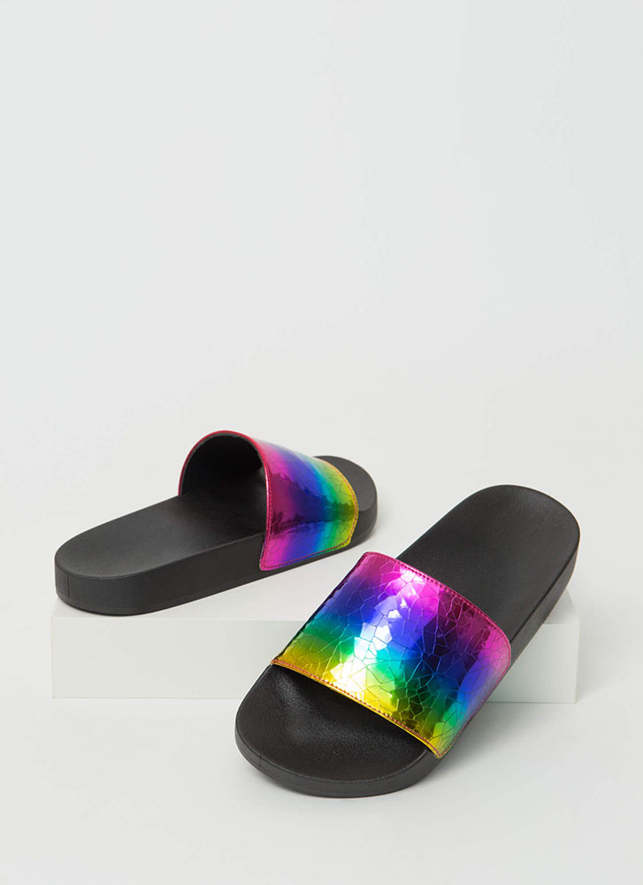 Crackle Pop Holographic Slide Sandals MULTI