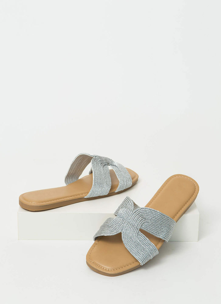 Roped In Metallic Woven Slide Sandals SILVER