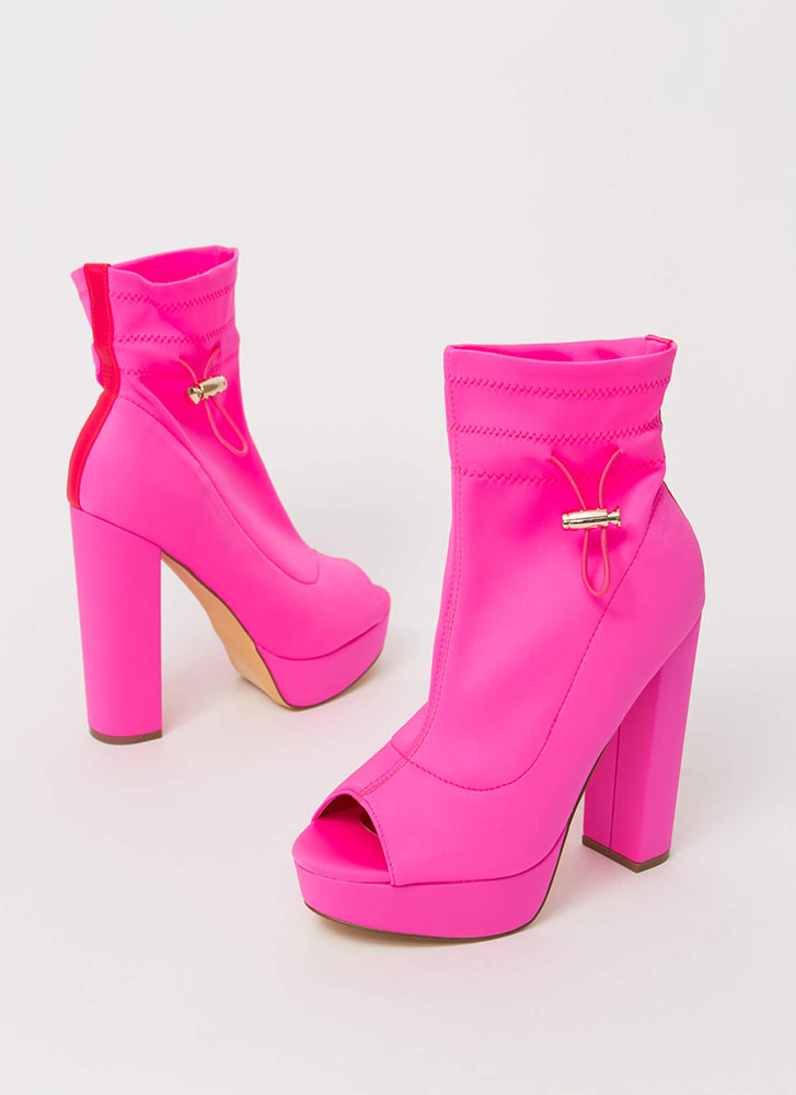 Peep These Chunky Drawstring Booties PINK